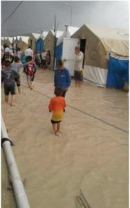 Overstroming vluchtelingenkamp
